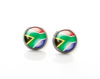 Titanium Earrings South Africa Flag | Hypoallergenic Earring Stud | Titanium Stud | Titanium earrings for sensitive ears