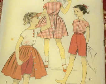 1950s Size 7 Advance 8377 Girls Separates Womans Day Sewing Pattern Supply Rockabilly 50 Blouse Front Buttoned Skirt Shorts Girls Playsuit c