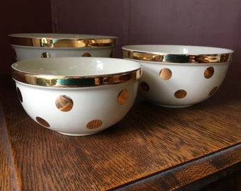 SALE- Vintage Hall's Nested Bowls- Polka Dot Bowls