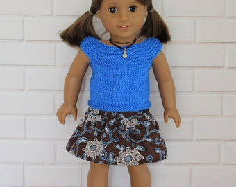 Royal Blue Knitted Top Brown Skirt Doll Clothes to fit 18 inch dolls to 20 inch dolls such as American Girl & Australian Girl dolls