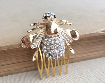 Bumble bee comb,GOLD,rose gold,Bumble bee hair pin,summer wedding, bee comb, Bumble bee jewelry, gold wedding insect bee hair accessories