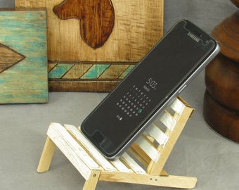 White shabby chic cell phone holder, mini pallet chair, wooden phone stand, popsicle stick chair, business card holder, desk accessories