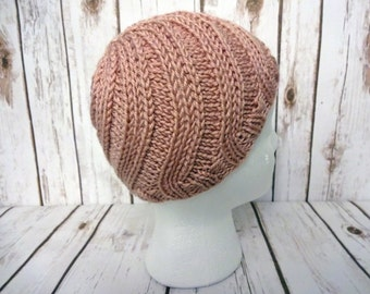 CLEARANCE - Pink Toddler Swirl Hat, Dusty Rose, Hand Knit Toddler Beanie, 12-24 months, Pink Hat, Toddler Hats for Girls