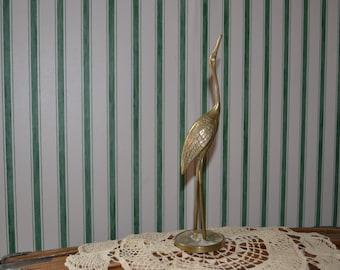 Antique Heron Brass  Vintage Standing Bird