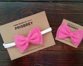 Pink Baby Headband, Baby Bows, Felt Bows, Felt Headband, Felt Hair Bows, Newborn Headband, Felt Baby Headband, Bow Headband, Baby Hair Bow