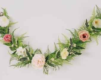 Flower garland, bohemian flower garland, baby shower banner, floral wall hanging, wedding garland, floral garland
