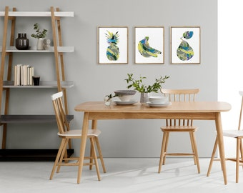 Contemporary Collage Art - Art Print Set of 3, 5x7 / 8x10 / 11x14 Abstract Pineapple, Banana, Pear - Yellow, Green, Grey and Blue Wall Decor