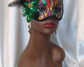 Glittered Harlequin Masquerade Mask, Venetian Mask, Mardi Gras Mask