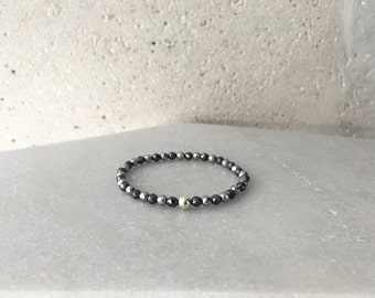 Gun-Metal x Silver Hematite Stretch Bracelet