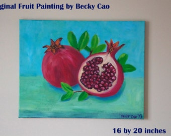 Pomegranate Fruit Painting- original acrylic painting on canvas- kitchen art- wall décor- home décor- pink turquoise-organic-original artwor
