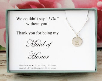 Maid of Honor Thank you gift 925 sterling silver initial necklace personalized gift for Maid of Honor jewelry Bridal party gifts