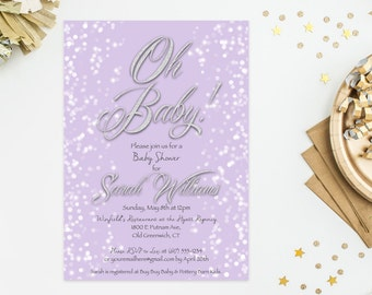 Oh Baby! Baby Shower or Sprinkle Invite, Any Color Background, Printable Baby Shower Invitation, 4x6 or 5x7- Digital File