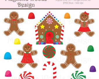 Gingerbread Clip Art, Christmas Clip Art, Peppermint Clip Art, Holiday Clip Art, Candy Land Clip Art, Small Commercial Use Clip Art