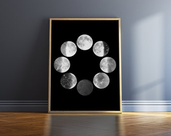 Moon Phases Print Black And White Print Moon Phase Wall Art Poster Black And White Wall Art Moon Phase Poster Art Print