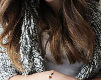 Tiger Eye Link Bracelet, Dainty Bracelet 14K Gold filled, Rose Gold Filled & Silver Chain