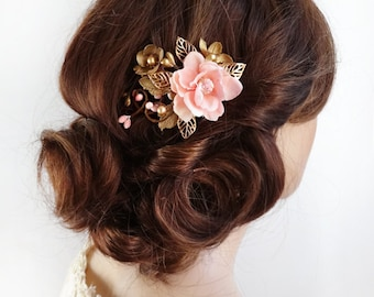 small gold hair clip, pink and gold hair flower, bridal hair clip, gold hair comb, prom, floral hair comb, pink hair flower, blush wedding