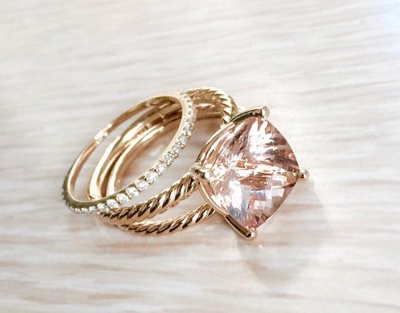 Morganite 3.80 Carat Certified Gemstone Ring and Matching Band