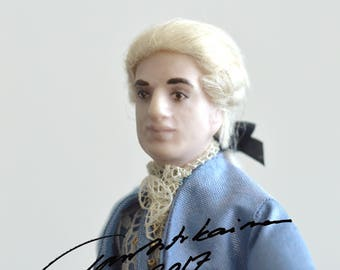 Blue Mozart, Miniature Art Doll, Taru Astikainen