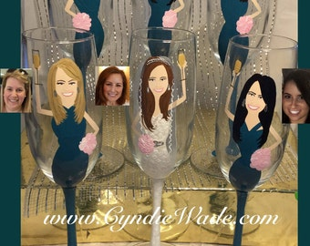 FREE BRIDE! Caricature Campagne Bridesmaid Anniversary Toasting Glasses