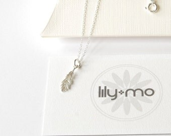 Silver Feather Necklace, woodland necklace, nature delicate silver feather necklace etsy, boho feather necklace