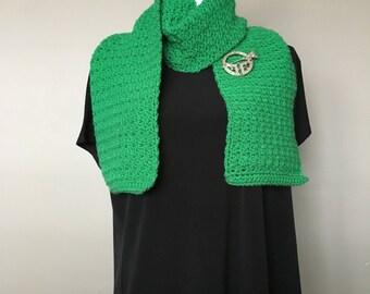 Kelly Green Cobble Stitch Scarf, Green Crochet Scarf, Crochet Neck Warmer, Bright Green Crochet Scarf, Bright Green Neck Warmer, ChunkyScarf