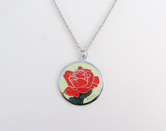 True Love Red Rose Enamel Pendant w/ Necklace - Vintage 1960s June Birthday Flower Jewelry