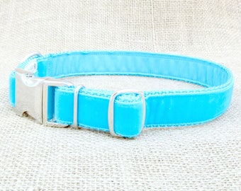 """Dog Collar: 1"""" Wide, Turquoise Velvet with Metal Side Release Buckle"""