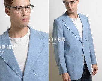 Men's 60s jacket, Men's Blazer, Vintage Blazer, Vintage Blue Blazer, 60s Blazer, Men's blue jacket,Men's vintage blazer,formal jacket - M/L