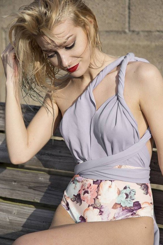 LOTTIE lilac multiway swimsuit - one piece swimwear with your choice of floral print, handmade beachwear - ethical clothing to order