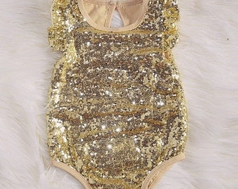 READY TO SHIP Gold Sparkly Leotard Romper