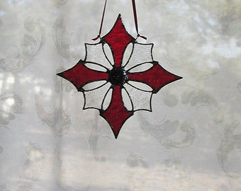 Red, Snowflake,Stained Glass,Suncatcher,Star, Art and Collectibles, Glass Art, Decorative, Glass snowflakes, Cross, Holiday, Gift