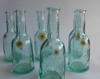 Set of 6 Small Glass Bottles ,Whisky Bottles, Wine Bottles, Brandy Bottles,Home Decor