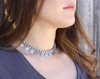 Ostara Necklace, Boho Necklace, Bohemian Necklace, Steel Necklace, Statement Necklace, Chunky Necklace, Boho Choker, Boho Luxe