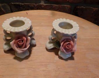 Vintage Karl Porcelain candle holders, Vintage German candle holders, Candle holders with Rose, Pink Rose candle holders, 1940's prop