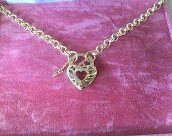 Antique Vintage Gold Necklace with Padlock Heart Pendant 54 cm long