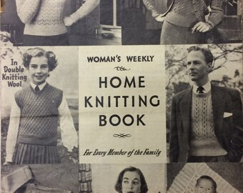 Vintage knitting pattern Woman's Weekly Home Knitting booklet magazine 1950's
