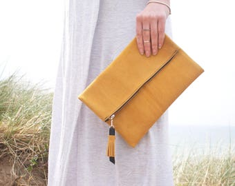 Yellow Suede Clutch Bag, Fold over Clutch, Clutch Purse, Yellow Clutch bag, Handmade Clutch