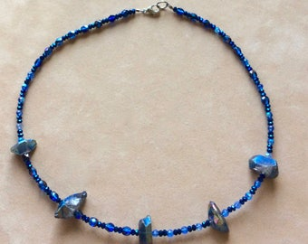 Blue Titanium Quartz and Crystal Necklace Sets   Handmade by Andrea Comsky