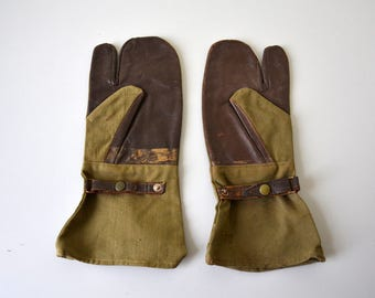 Gloves for motorcycle / French  army 50-60s / Le Grillon Saint-Etienne