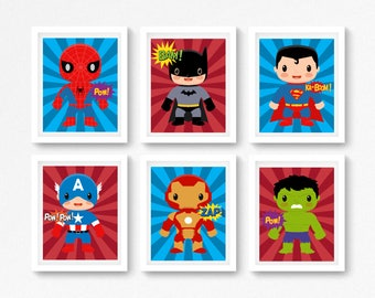 Superhero Wall Art, Superhero Prints, Boys Bedroom Decor, Superhero Bedroom Art, Superhero Gift for Boy, Superhero Nursery Decor, Baby Boy