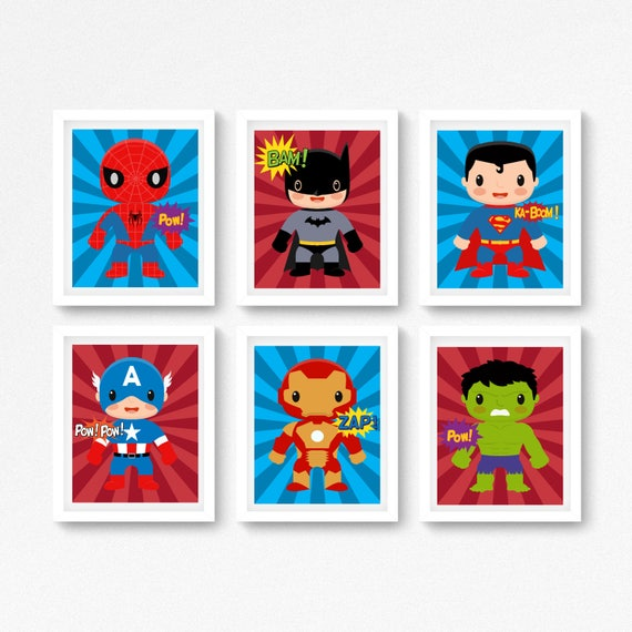 Boys Superhero Room Decor: Superhero Wall Art Superhero Prints Boys Bedroom Decor