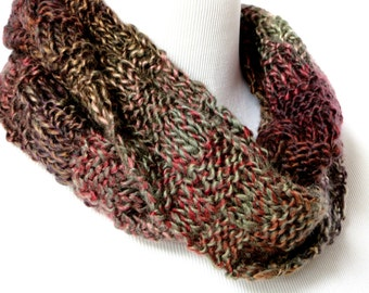 Multicolor Scarf - Earthtone Knit Scarf - Red Brown Olive Scarf - Circle Scarf - Charcoal Knit Scarf - Wool Blend Scarves - Eternity Scarf