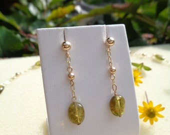 Gold earring with tourmaline, gold 585, gemstone earrings in gold