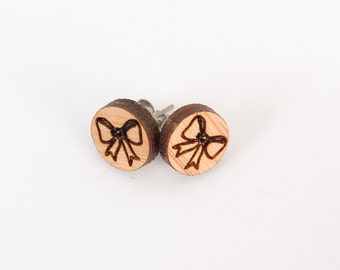 Earrings studs wood circles with bow design bamboo plywood, hypoallergenic surgical steel posts