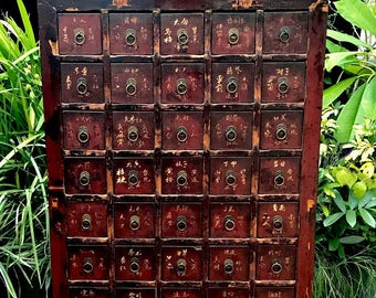 """Antique RED Chinese Apothecary Cabinet, 46"""" Asian 37 Drawer Herb Cabinet, Chinese Doctor Medicine Cabinet, apothecary drawers"""