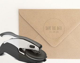 Save the Date Embosser Stamp, Custom Date Embossing Stamp, Save the Date Embossing Seal, Wedding Invitations, Wedding Embosser (EWEDD118)