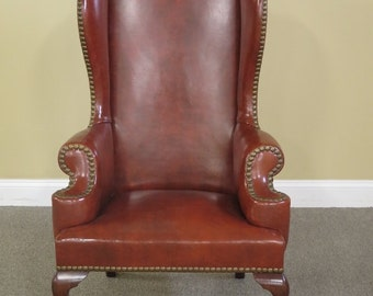 L41458E: High Quality Leather Tall Back Walnut Wing Chair