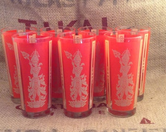 Very cool Asian Inspired Drinking Glasses Red and Gold set of 4