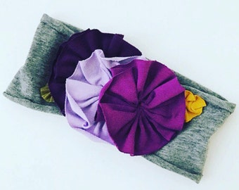 Flowered jersey knit headband || multi purples