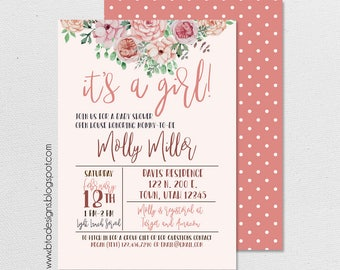 Floral Baby Shower Invitation 1, Customized, Digital File